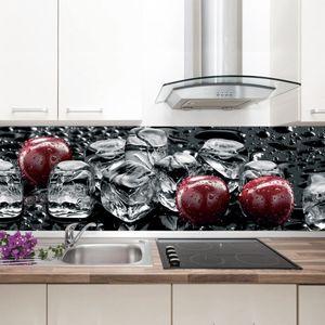 Küchenrückwand schwarz rot Spritzschutz 300 cm mit UV-DIREKTdruck Hochwertiger Kunststoff GU31