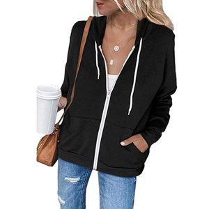 Damen Hoodie Full Zip Langarm Langarm Sweatshirts Taschen Jackenmantel SFW200920326 Größe:L,Farbe:Schwarz
