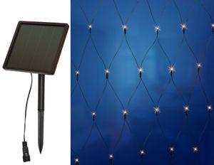 Solar Lichternetz, verschiedene Größen, warm-weiße LEDs, inkl. Solar-Panel mit Erdspieß und Akku (144 LED, 2x2m)