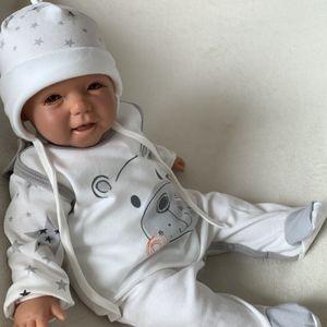Baby Jungen Mädchen Set 3-teilig Strampler Shirt Mütze Gr. 56