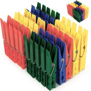 Deuba 100x Wäscheklammern Kunststoff Wäscheklammer Klammern Extra Starke Feder Verzinktem Stahldraht Witterungsbeständig
