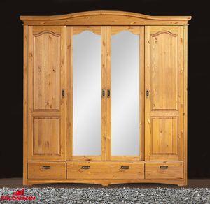 Kleiderschrank 202cm Kiefer massiv natur 4-türig Schlafzimmerschrank