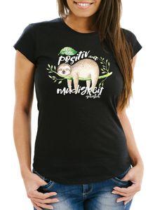Damen T-Shirt Faultier Ich wurde positiv auf Müdigkeit getestet Sloth Slim Fit Fun-Shirt Moonworks® schwarz XL