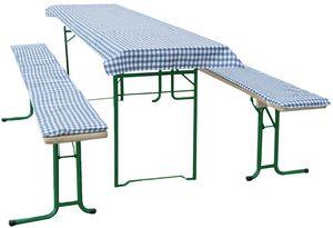 3-tlg. Auflagenset für Biertischgarnitur, blau-kariert für Tischgröße 50x220 cm