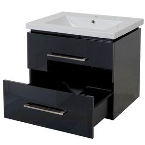 Premium Waschbecken + Unterschrank MCW-D16, Waschbecken Waschtisch, hochglanz 60cm  schwarz