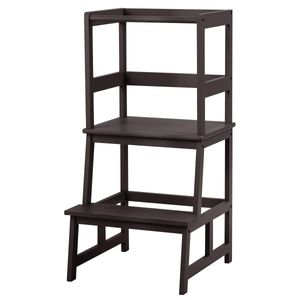 COSTWAY 2 Stufen Lernturm, Lerntower bis zu 70kg belastbar, Kinder Tritthocker aus Bambus, Lernstuhl Küchenhelfer, Kinder Schemel für Kinder im Alter von 18-36 Monaten (Braun)