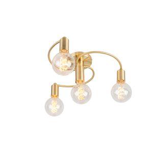 QAZQA - Art Deco Art Deco Deckenleuchte | Deckenlampe | Lampe | Leuchte Messing 4-flammig - Facil | Wohnzimmer | Schlafzimmer | Küche - Metall Andere - LED geeignet E27
