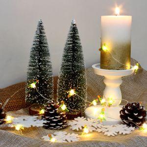 LED Drahtlichterkette 'Tannenbaum' - 20 warmweiße LED - silberner Draht - L: 1,9m - Batteriebetrieb