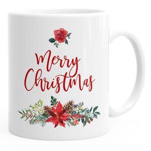 Tasse Weihnachten traditionell Merry Christmas Blumen Weihnachtsstern Christstern Teetasse Kaffeetasse Autiga® weiß unisize