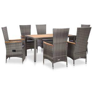 7-teiliges Outdoor-Essgarnitur Garten-Essgruppe Sitzgruppe Tisch + stuhl mit Auflagen Poly Rattan Grau