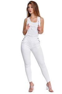 Damen Skinny Latzjeans Stretch Latzhose Slim Fit Overall Denim Hose, Farben:Weiß, Größe:36
