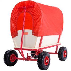 Bollerwagen Holz bis 180 kg belastbar 4 luftgefederte Allroundprofil Reifen Plane Rot Stahlrohrrahmen Transportwagen