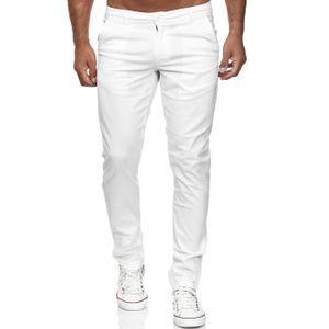 Reslad Herren Chino Hose Slim Fit Herrenhose Stretch Stoffhose | bequeme Chino Hosen für Herren Baumwolle Designer 5-Pocket Hose Weiß W30 / L34
