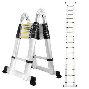Hengda 5M(2.5+2.5M) Teleskopleiter Aluminium Mehrzweckleiter Fingerklemmschutz Auszeihleiter  Klappbar Aluminiumleiter Antirutsch bis 150 KG