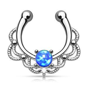 Nasenpiercing Nasenring Fake Piercing Septum Opal Septum Hanger silber-blau