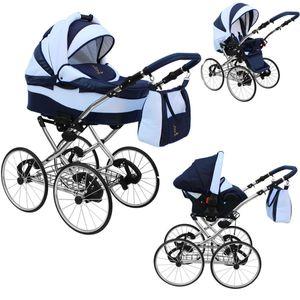 """Lux4kids Retro Kinderwagen 17 """" Reifen Speichenräder Pannenfrei mit Sonnenschirm Classico  Coffee Sand 08 3in1 mit Babyschale"""
