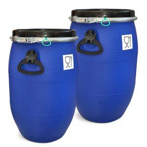 2 Stück: 60 L Weithalsfass mit Spannverschluss   Lebensmittelecht   Universalfass   Futtertonne   Regen Maische Tierfutter Trinkwasser Camping Lagerfass   Stapelbar   Blau