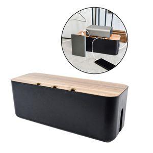 Kabel Management Box ABS Holz Deckel Draht Kabel Organizer Box Power Streifen Surge Protector Abdeckt Versteckt für Desktop Home Office Farbe Schwarz
