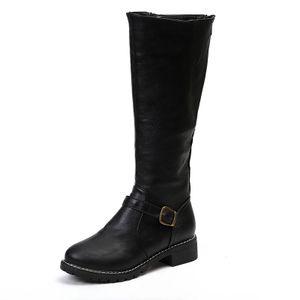 Seitlicher Reißverschluss Stiefel mit hohem Bein Stiefel mit niedrigem Absatz und quadratischem Absatz,Farbe: Schwarz,Größe:41