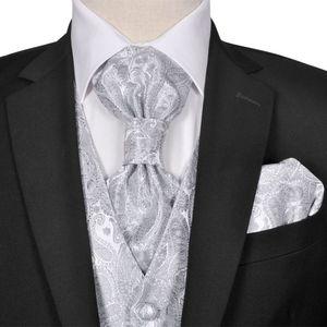 Herren Paisley-Hochzeitswesten-Set Größe 54 Silber