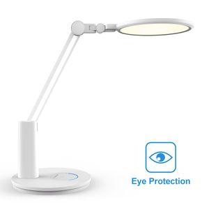 Augenschonende Schreibtischlampe LED Ra>95 Tageslicht Dimmbar Tischleucht Kinder Augenschutz, Frei von schädlichem Blaulicht, Blendschutz, Breite und homogene Ausleuchtung, 18W Weiß [Energieklasse A+