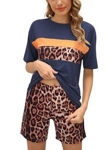 Sexydance Frauen Leopardenmuster Schlafanzüge Zweiteiliger Anzug Pyjamas Set Homewear,Farbe:Dunkelblau,Größe:L