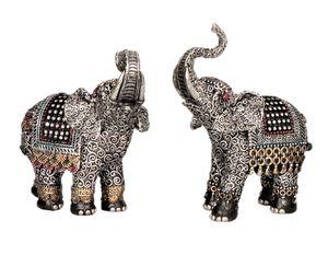 2 Elefanten Dekofiguren asiatische Tierfiguren je 16 cm