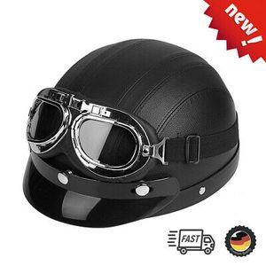 Retro Motorradhelm Helm Rollerhelm Oldtimerhelm Schutzbrillen inkl. Helmvisier Leder Transpart