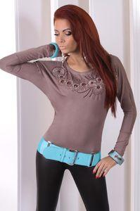 Longshirt Tunika mit Pailletten Top Gr. 36 38 S M, 5830 Cappuccino