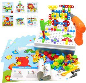 Steckspiel Montessori Spielzeug mit Bohrmaschine Pädagogisch Kreativ Spielzeug 3D Puzzle Mosaik Spiel Werkzeugkoffer Kinder ab 3 4 5 6 Jahre für Jungen Mädchen (193 Stücke)