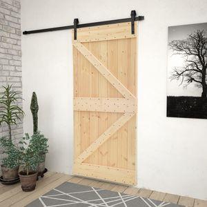 CLORIS Zimmertür Schiebetür Haustür - mit Beschlag 100x210 cm Kiefer Massivholz #DE342207