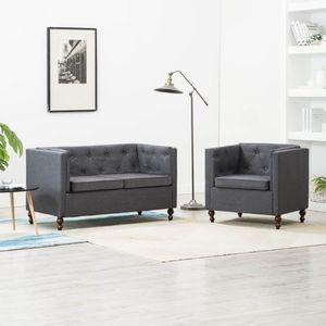 beraes Chesterfield Sofa-Set 2-tlg. Stoffpolsterung Dunkelgrau