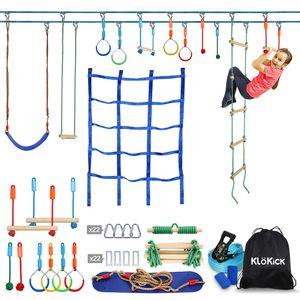 Klokick Doppellinie Slackline Ninja Warrior Hindernisparcours Set mit Leiter, Monkey Bars, Gym Rings, Seilknoten für Kinder und Erwachsene 15m Bis 113kg