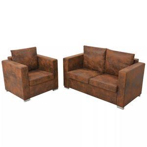 Sofagarnitur 2-tlg. Künstliches Wildleder Wohnlandschaft-Sofa Relaxsofa für Wohnzimmer Schlafzimmer Esszimmer