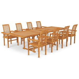 9-tlg. Garten-Essgruppe mit 1 Gartentisch und 8 Stühle ,Gartengarnitur Sitzgarnitur Set Teak Massivholz