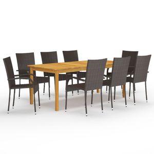 Eleganter- 9-tlg. Garten-Essgruppe Gartenmöbel Set Tisch und 8 Stuhl Sitzgarnitur Gartengarnitur für 8 Personen Braun🍀7301