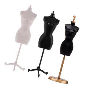 Displayhalter Kleid Kleidung Mannequin Modell Stehen Für Barbie Puppen Schwarz+Displayhalter Kleid Kleidung Mannequin Modell Stehen Für Barbie Puppen Weiß+Abnehmbare Kleidung Display Modell / Ständer Für Barbie-Puppen - Black