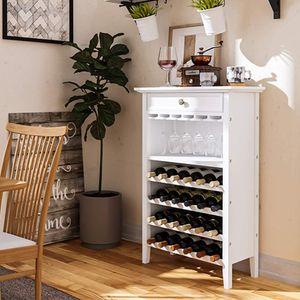 Weinregal mit Schublade für 24 Flaschen Weinhalter Weinschrank Weinständer Weiß