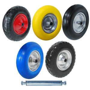 Schubkarrenrad Reifen Vollgummi 4.80/4.00-8 Ersatzrad Luftrad pannensicher Achse, Farbe:1x Schwarz Luft C