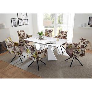 Essplatzgruppe mit Armlehnenstühle 6-8 Personen KAPRUN-119 Ausziehtisch mit Keramikoberfläche, Stühle in Samtoptik flower/altrosa