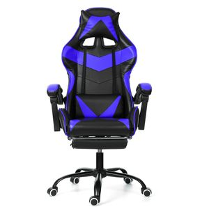 Meco Gaming Stuhl Bürostuhl Schreibtischstuhl mit Armlehne Gamer Stuhl Drehstuhl Höhenverstellbarer Gaming Sessel PC Stuhl Ergonomisches Chefsessel mit Fußstützen Blau