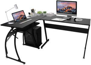 Eckschreibtisch L-förmig, Computerecktisch Groß Gaming Schreibtisch PC Bürotisch mit Easy-Glide Tastaturauszug und freistehende CPU-Ständer, für Arbeitzzimmer und Büro, schwarz