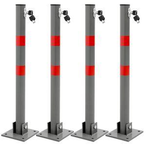 ECD Germany 4x Klappbare Parkpfosten rund 68cm mit roten Warnstreifen und 3 Schlüssel - aus Stahl - Parkplatzsperre Absperrpfosten Sperrpfosten Parkplatz-Barriere Park Pfosten Poller Standfuß