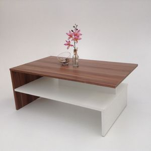 Möbel SD Couchtisch SW - Nussbaum Optik - Weiß