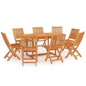 Gartenmöbel Essgruppe 8 Personen ,9-TLG. Terrassenmöbel Balkonset Sitzgruppe: Tisch mit 8 Stühle Massivholz Teak❀3329