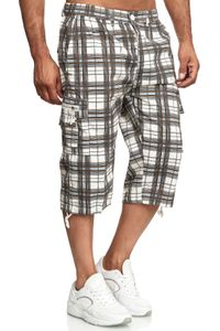 Herren Bermuda Shorts 3/4 Kurze Cargo Hose Kariert Regular Fit Sommer , Farben:Braun, Größe Shorts:3XL