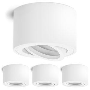 4 Stück Schwenkbare Aufbauleuchten SMOL matt weiß - Decken-Aufbauspot schwenkbar geeignet für LED Module