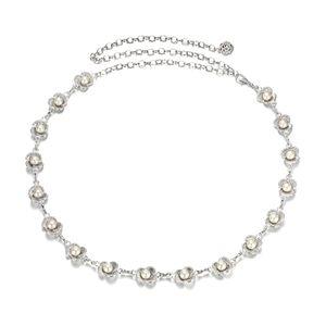 Damen Mode Metall Taillenkette Kettengürtel Taillengürtel Blume Perlen Körperschmuck, Feine Hochzeit Dekoration 02
