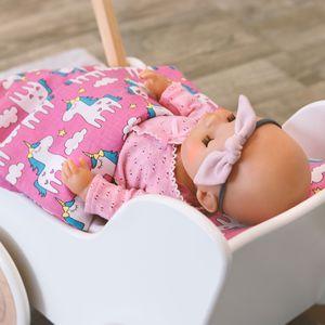 MAMANDU, Puppenwäsche, Baumwollpuppenwäsche, Bettdecke 40x30 cm und Kissen 20x10 cm, Puppenwäscheset, 100% Baumwolle, Bettdecke und Kissen für Puppe,  Standard 100, Puppe, Farbe:Unicorn / Pink