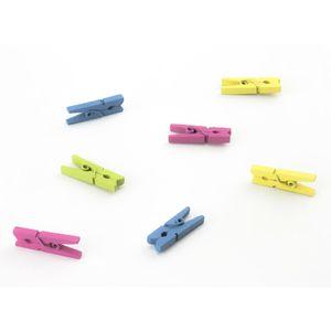 Oblique Unique 24 Mini Wäscheklammern Holz Miniklammern kleine Deko Klammern - bunt